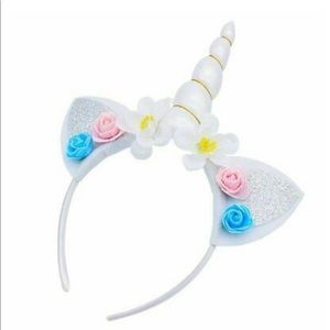 🦄WHITE Unicorn Horn Flower Headband Caticorn Hair